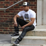 Rebel8 T-shirt and snapback and Embellish NYC biker jeans