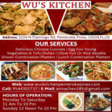 Delicious Chinese Food Takeout Pembroke Pines | Wu's Kitchen Inc