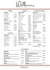 Pricelists of Williams Bar & Cafe