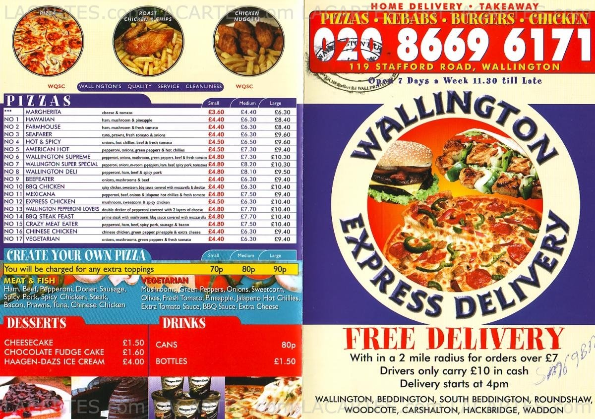 2 Of 2 Price Lists Menus Wallington Express Delivery