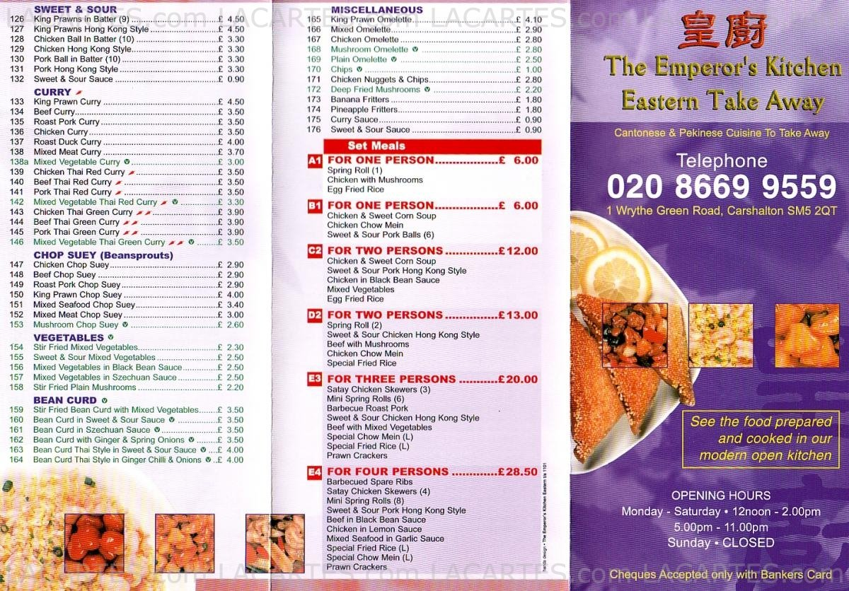 2 of 2 price lists menus the emperor 39 s kitchen for Perfect kitchen takeaway menu