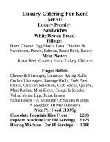 Pricelists of Luxury Catering For Kent