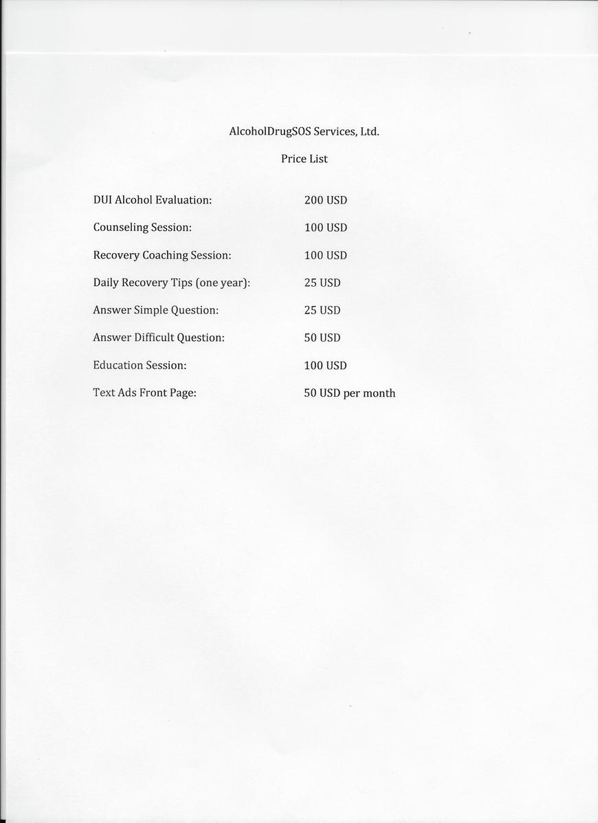 Pricelists of AlcoholDrugSOS Services, Ltd. 1717 Ingleside Road - Photo 1 of 1