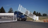 logistics company protected by security gate and guard