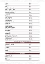 Pricelists of Original Joe's Italian Restaurant