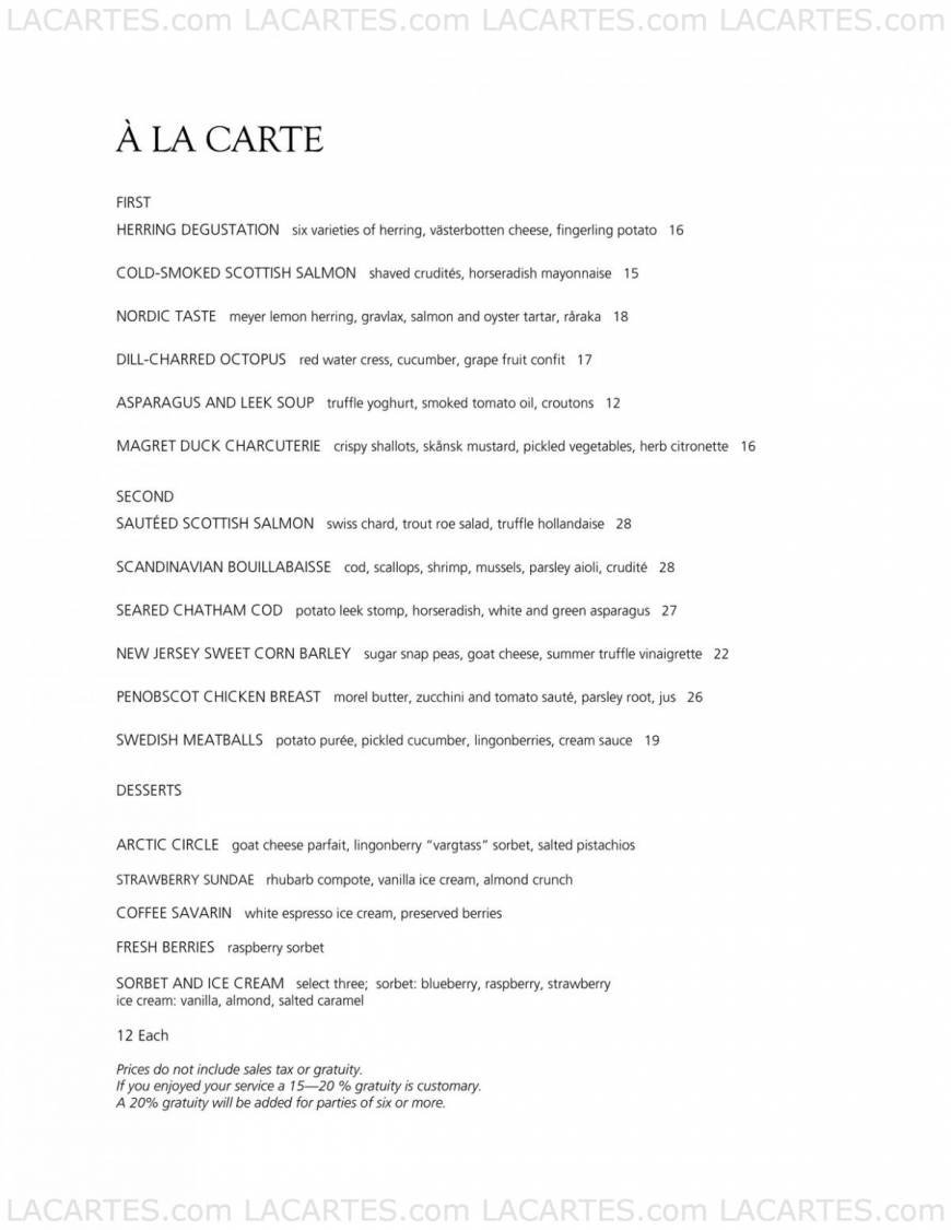 Aquavit New York City Price Lists Page 12 of 36 