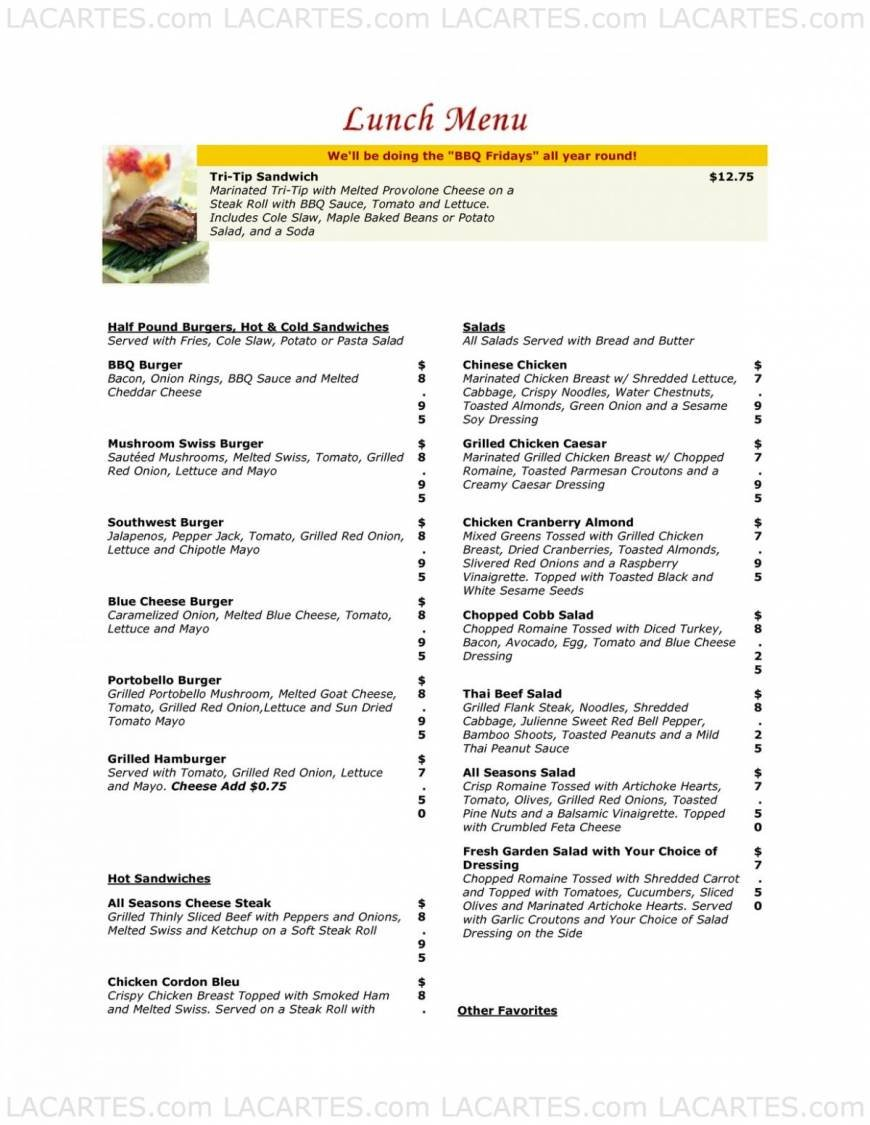 Pricelists of All Season's cafe & Catering 1758 Junction Avenue suit AA - Photo 1 of 13