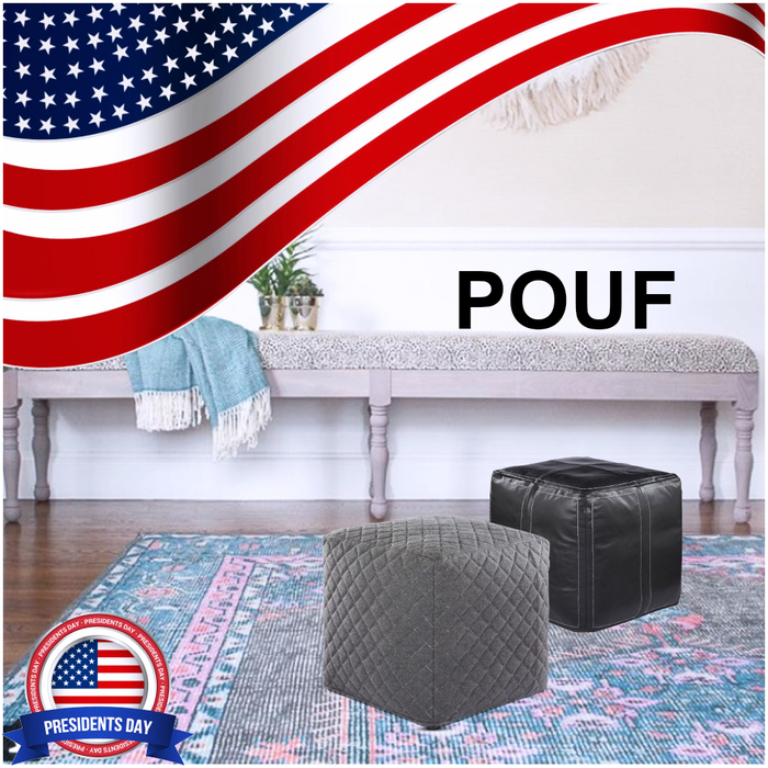 Jaipur Ultra By Nikki Chu UNK02, UNK04 Nki21, Nki20 Neutral Gray Pouf & Moonless Night Pouf<br />  President's Day Sale 2018 of Rugsville : Premier Online Home Store 3555 Haven Ave - Photo 3 of 6