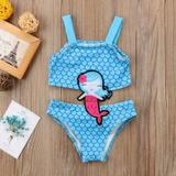 Girls Mermaid Embroidered Swimsuit