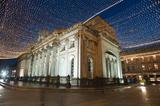 Scenic night view of illuminated Christmas lights in the Royal Exchange Square with the exterior facade of GOMA, or the Gallery Of Modern Art, Glasgow