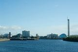View looking up river of the Glasgow Clydeside skyline with the Princes dock development including the IMAX cinema, SECC and Glasgow tower