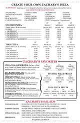 Pricelists of Zachary's Chicago Pizza