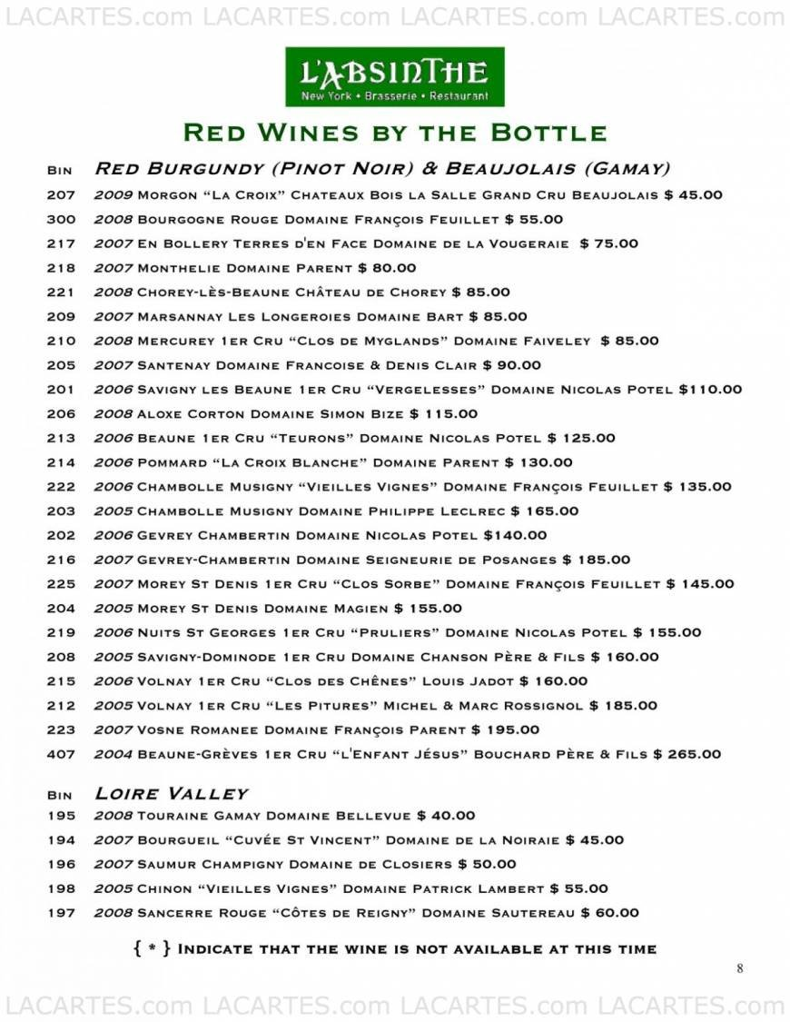 Pricelists of L'Absinthe Brasserie and Restaurant 227 E 67th Street - Photo 17 of 19