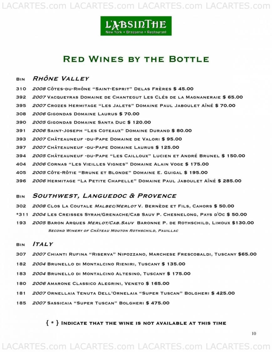 Pricelists of L'Absinthe Brasserie and Restaurant 227 E 67th Street - Photo 19 of 19