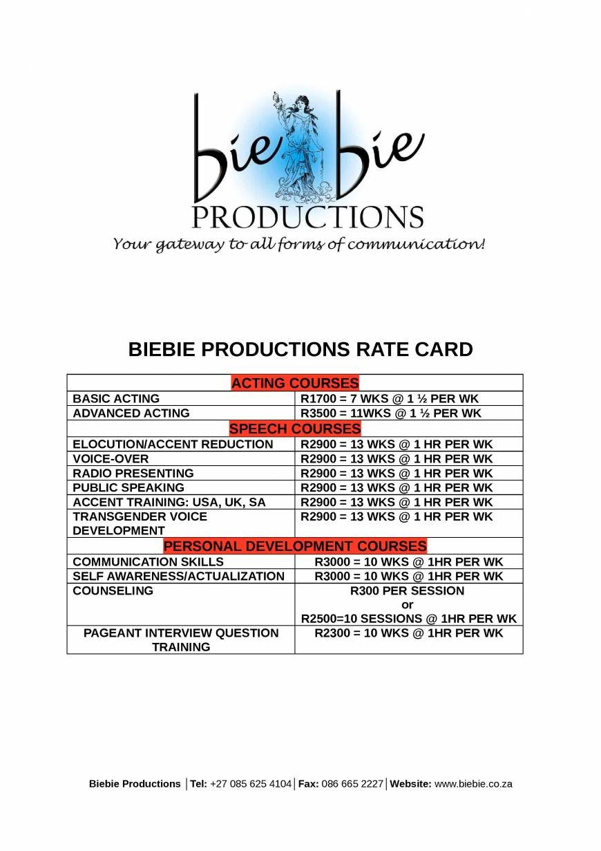 Pricelists of Biebie Productions 120 Vryburger Avenue - Photo 1 of 1