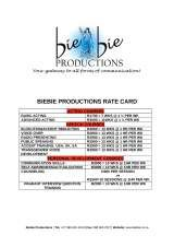 Pricelists of Biebie Productions