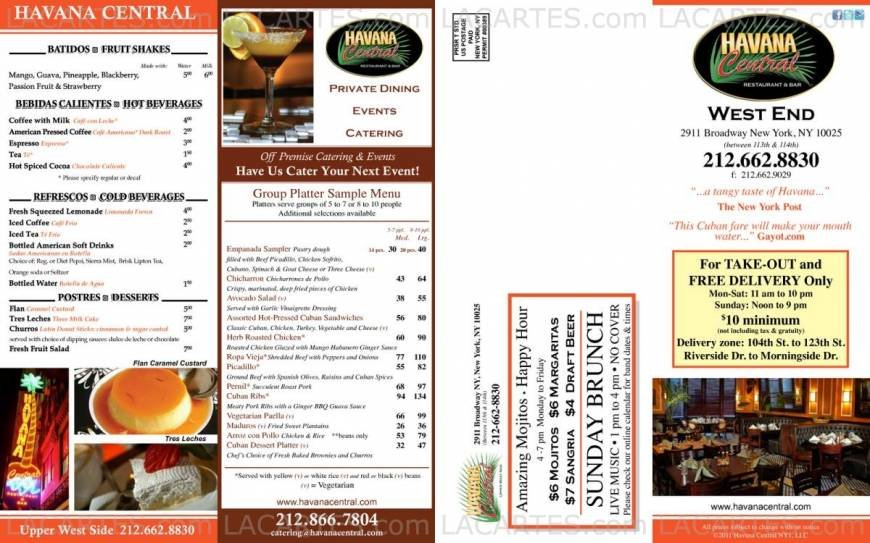 Pricelists of Havana Central Bar and Restaurant 2911 Broadway (Between 113th & 114th St) - Photo 13 of 14