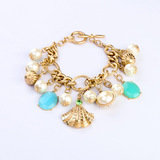 NEW Turquoise Aqua Green Blue Crystal Charms Pearls Resin Stones Bracelet   Top Collections Co., Ltd. 瑪莎精品有限公司 9F-2, 129, Cheng Kung Rd.