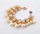NEW Glass Pearl Cluster Dot Crystal Gold Chain Bib Bubble Statement Bracelet   Top Collections Co., Ltd. 瑪莎精品有限公司 9F-2, 129, Cheng Kung Rd.