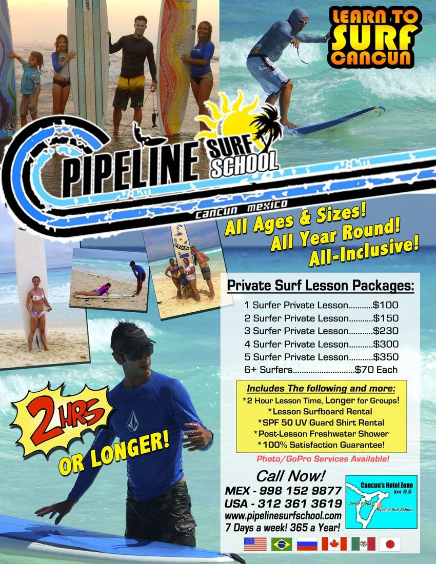 Pricelists of Pipeline Surf School Cancun KM 9.5 Blvd Kukulcan Across from Señor Frogs! - Photo 1 of 1