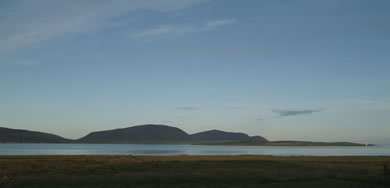 Morning view of Hills of Hoy and Scapa Flow from Buxa 3 chalets sleeping 4 each in king and/or twin beds of Buxa Farm Chalets & Croft House A964 - Photo 8 of 16