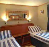 Twin beds can be put together to form a king bed, Buxa Farm Chalets & Croft House, Orphir