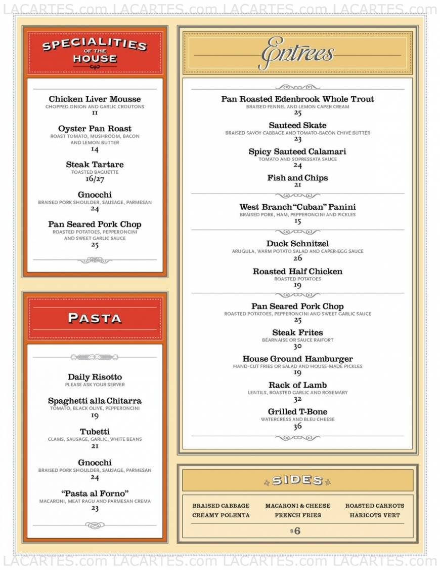 Pricelists of The West Branch Restaurant 2178 Broadway - Photo 2 of 4