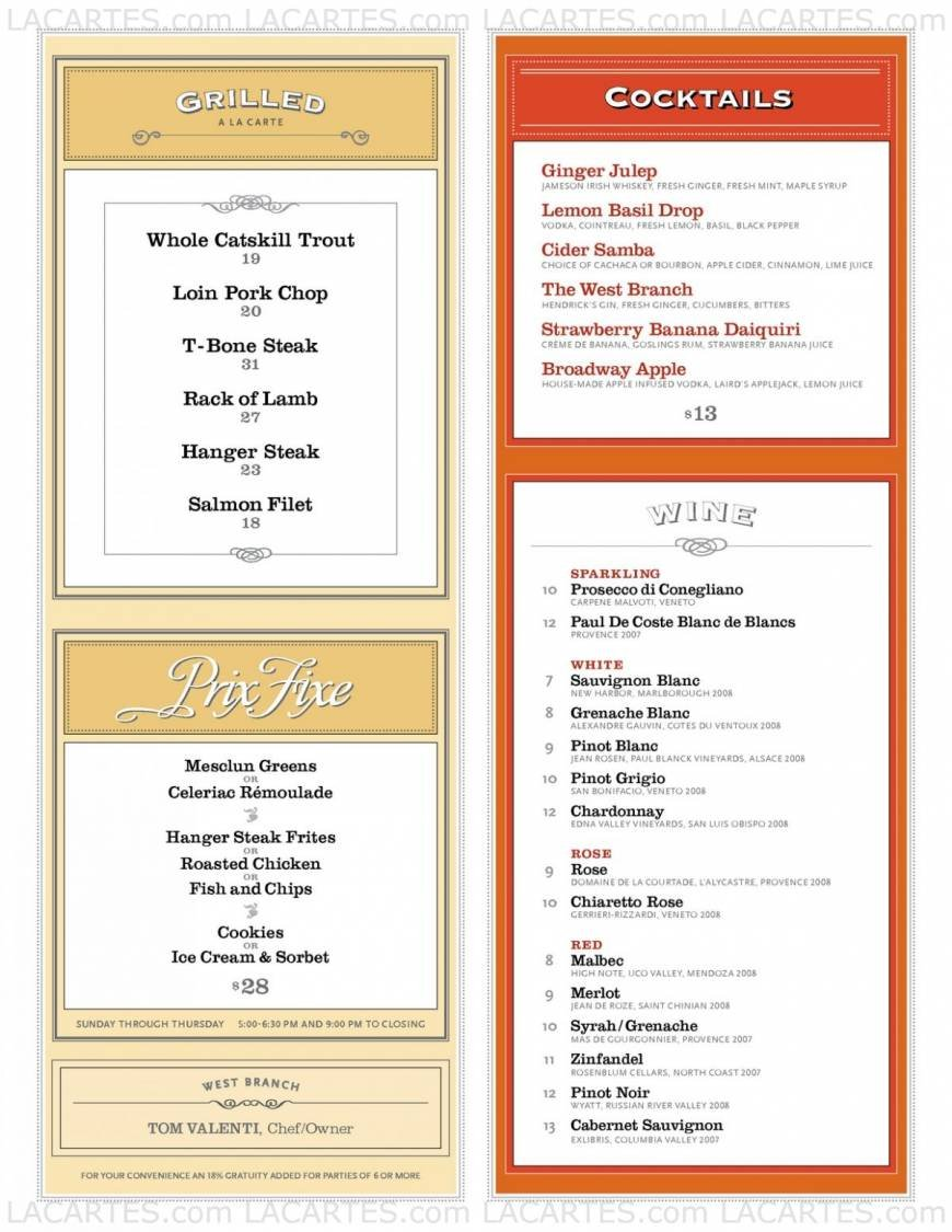 Pricelists of The West Branch Restaurant 2178 Broadway - Photo 3 of 4