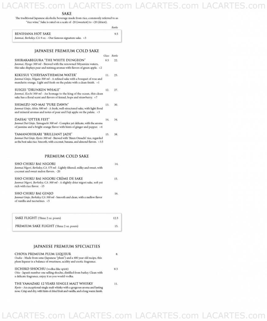 Benihana Honolulu Price Lists Page 1 of 11