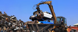 garbage, junk, trash, scrap, dump, refuse, crane, contractor, worker, man, male, removal, removing, mover, moving, shifting, equipment