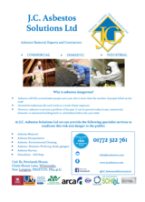 Company Flyer J.C. Asbestos Solutions Ltd Unit B1 Newlands House, 60 Chain House Lane, Whitestake