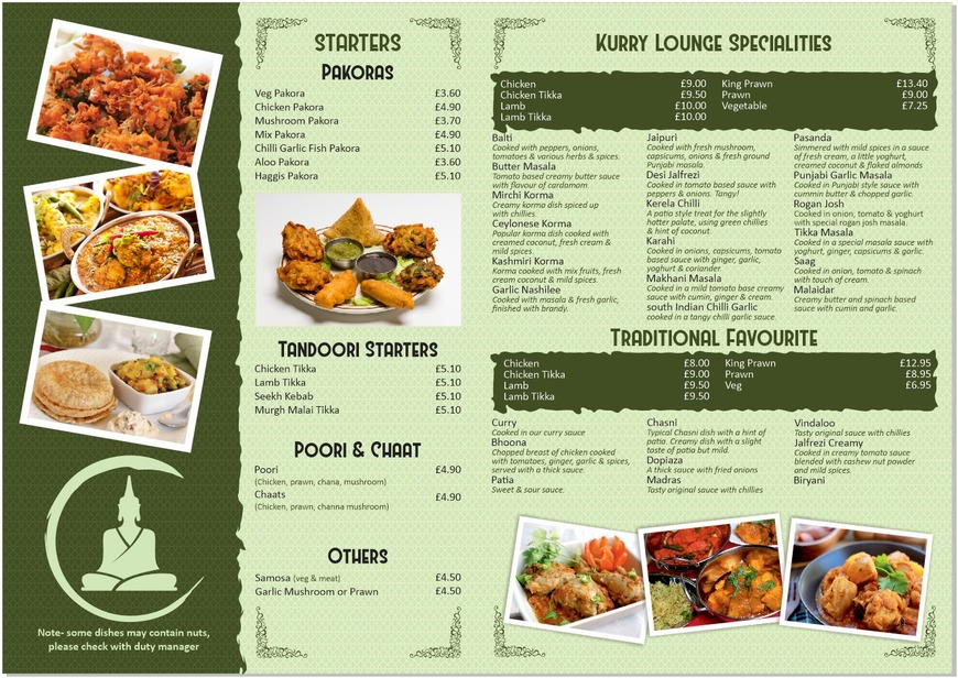 Pricelists of The Kurry Lounge - Indian Restaurant Hamilton 78 Brandon Street - Photo 1 of 2