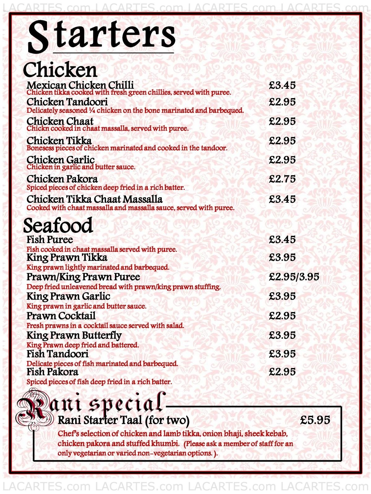 2 of 12 price lists menus rani fine dining manchester for Fine dining service rules