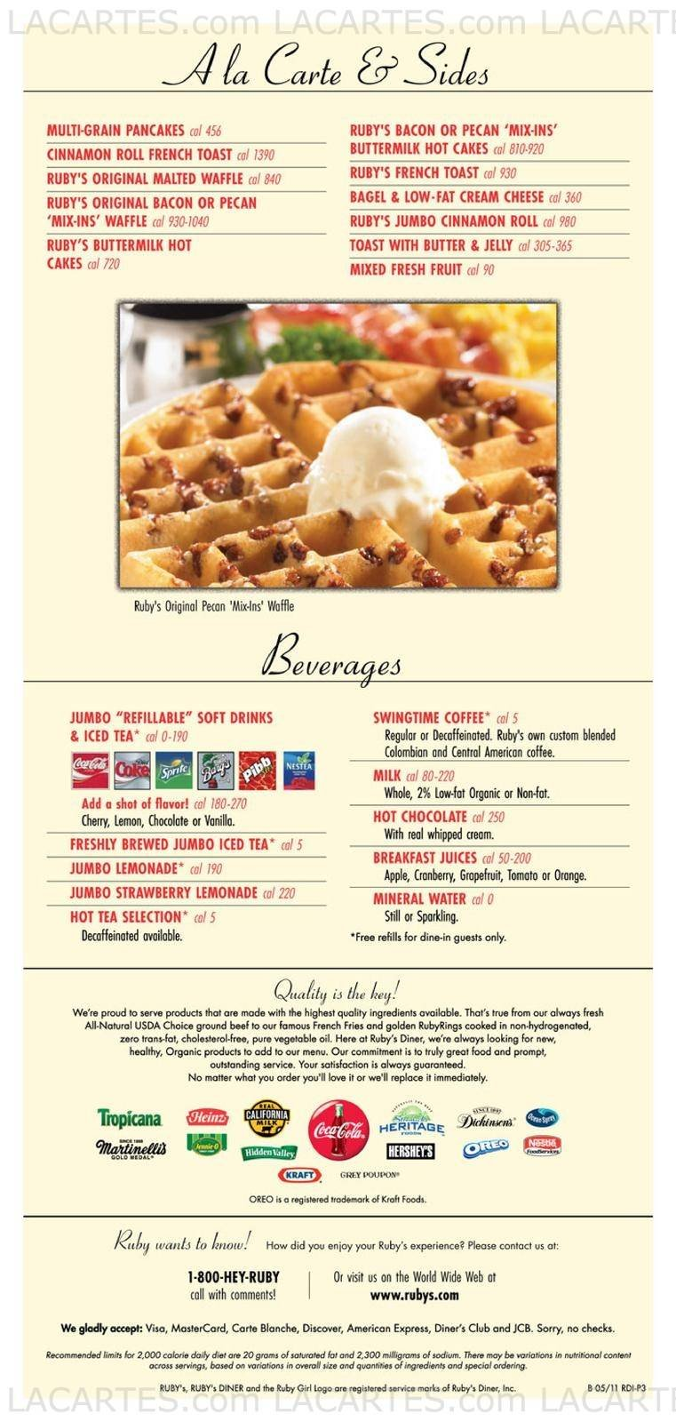 Ruby's Diner Newport Coast Price Lists Page 3 of 9 
