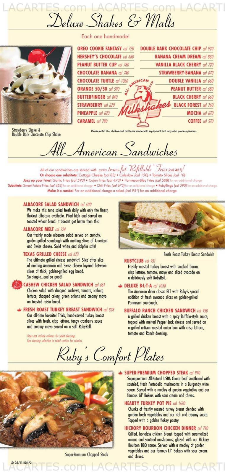Ruby's Diner Riverside Price Lists Page 7 of 9