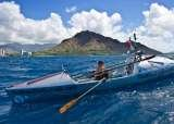Roz Savage passing Diamond Head just before arriving in Honolulu Hawaii after rowing across the Pacific Ocean from San Francisco