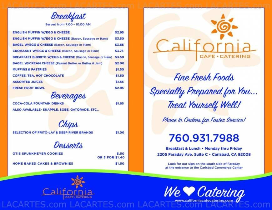 Pricelists of California Cafe & Catering 2205 Faraday Ave Suite C - Photo 1 of 2