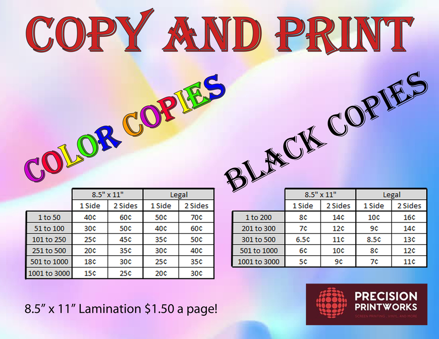 Pricelists of Precision Printworks 5395 West Ash, Suite 1 - Photo 1 of 1
