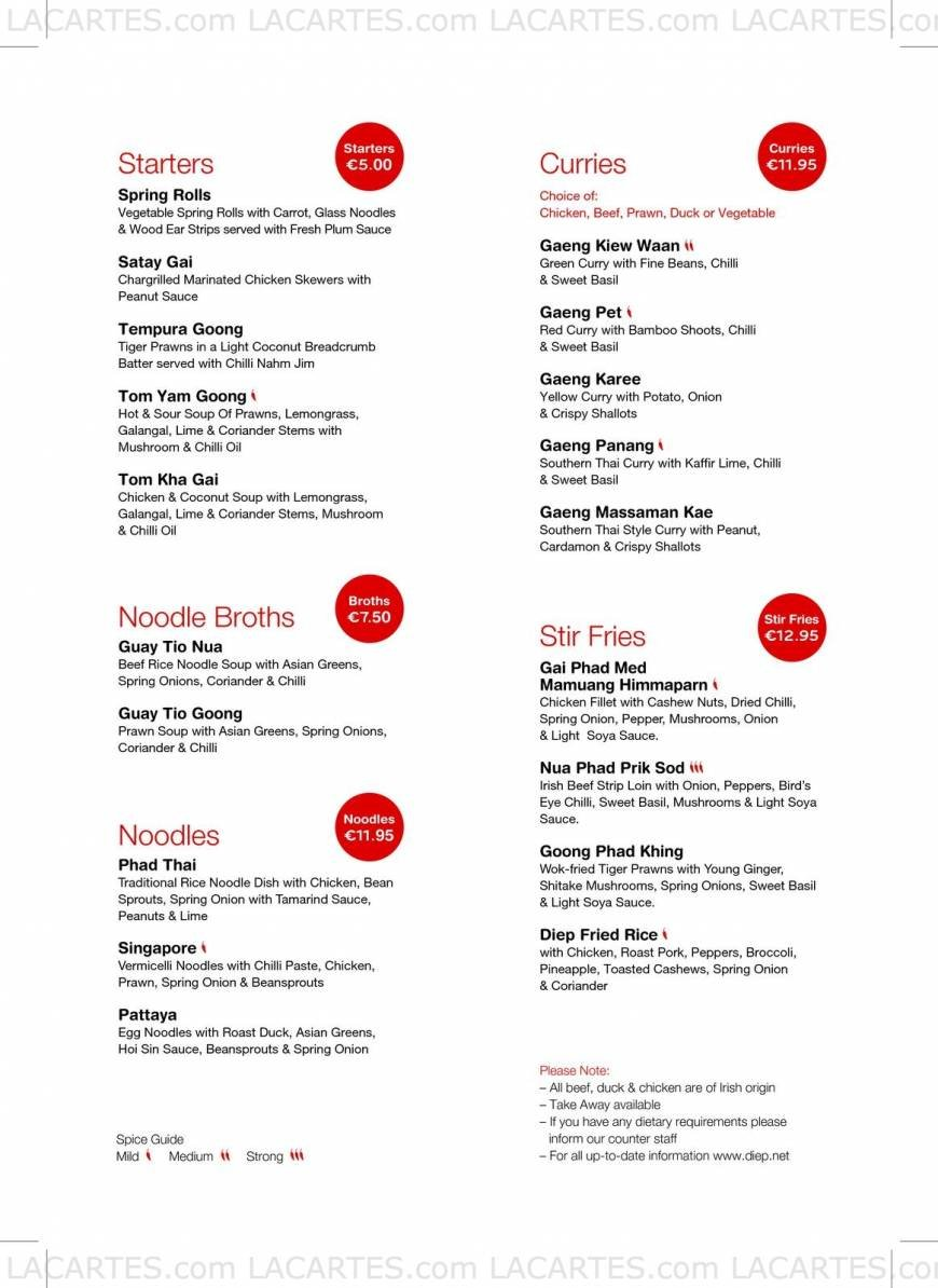 Diep Noodle Bar Dublin Price Lists Page 2 of 2