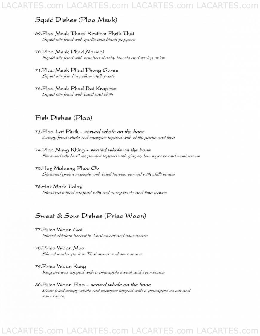Thai Orchid Restaurant Exeter Exeter Price Lists Page 11 of 53 