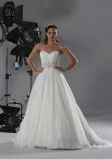 'Damask'  Stunning sweetheart neckline with heavily embellished belt, full skirt and train