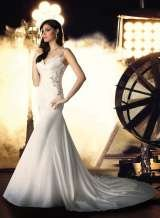'Dorcas' Soft satin fishtail gown with stunning beading on the bodice, straps and back