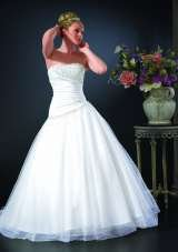 'Holly' Satin A-symmetric gown with full tulle skirt, corset back and train