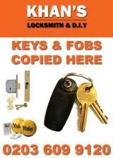 FOB & KEY COPY SIGN, KHAN'S LOCKSMITH & D.I.Y | Emergency locksmith | Fob key copy | Painting & Decorating | Tools & Hardwares | Handyman Services | Plumbing & Electrical, bethnal green