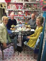 Happy Customers enjoying lunch at Coffee, Cake and Curtains.