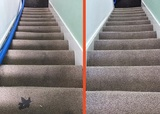 before and after stair carpet cleaning
