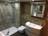 Crosswater Shower Tray, Enclosure, Vanity Unit & Basin and Brassware with Nuance Shower Panels