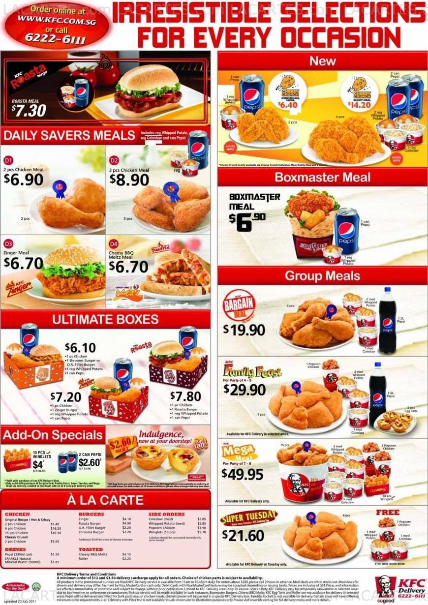 KFC Menu Price List Australia http://www.lacartes.com/business/KFC-Singapore-Post-Centre-Singapore/8152/pricelists?pid=34711