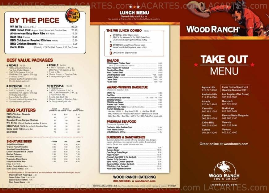 Wood Ranch Dos Lagos WB Designs - Wood Ranch Lunch Menu WB Designs