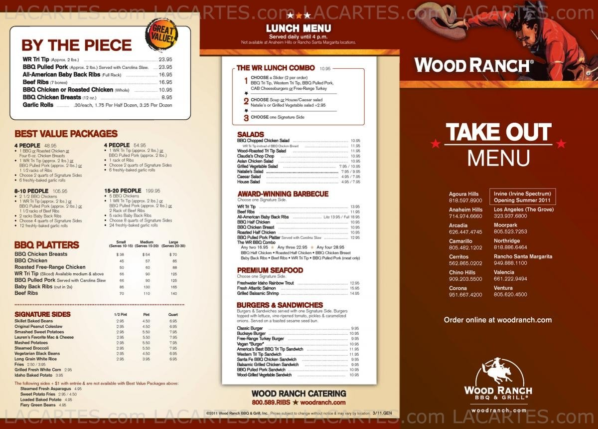 View Full Size Image ... - 1 Of 7 Price Lists & Menus €� Wood Ranch The Grove, L.A. Los